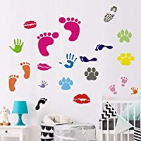 BUCKOO Colorful Abstract Foot&Hand Prints Wall Decal Sticker Peel and Stick DIY Easy to Install | Nursery Playroom Classroom or Daycare Decor Wall Decals Home Decor
