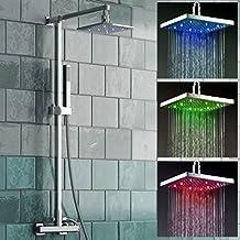 Alcachofa de ducha cuadrada con 3 LED de colores, en función de la temperatura