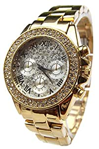 MONTRE FEMME STRASS COULEUR OR DORE GD DOLCE VITA.