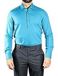 Muga chemise manches longues, ajustée, Turquoise