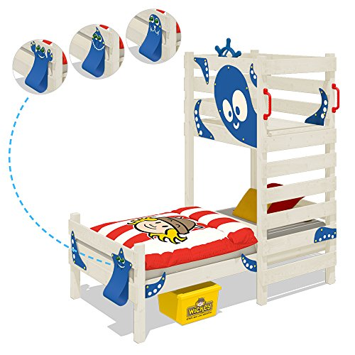 WICKEY Play bed CrAzY Octopus Children`s bed Wooden single bed with play platform for boys and girls and slatted bed base, red + white colour