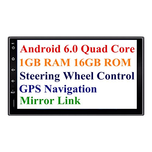2 Din Head Unit Android 6.0 GPS Navigation Car Stereo Audio Radio 1080P Video Player ARMv7 Quad Core eingebaut Wi-Fi Bluetooth AM/FM/RDS Steering Wheel Control … (Car Head Unit)