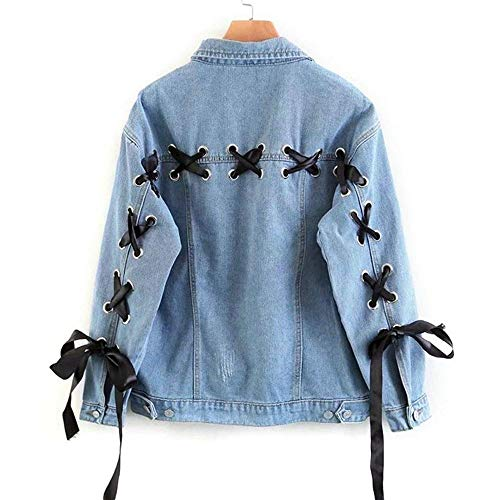 YTWSKCXP Spring Blue Lace Up Lattice Eyelets Zurück Classic Basic Denim Jacke Einreiher Beiläufige Feste Frauen Lose Jean Mantel, L Classic Denim Jacke