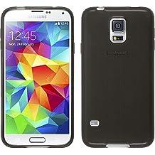 Funda de silicona para Samsung Galaxy S5 Neo - transparente negro - Cover PhoneNatic Cubierta + protector de pantalla