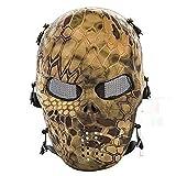CQJDG, Maschera protettiva integrale, design teschio, per ambienti esterni, per softair, fucile ad aria compressa, CS e feste, CQMQZ, Barren land