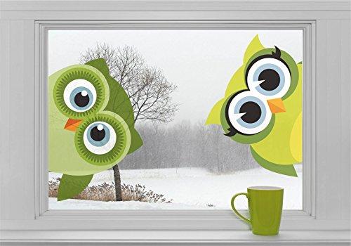 """Zwei Eulen """"schauen zum Fenster herein"""" Fenstersticker Sticker Aufkleber Vögel F049"""