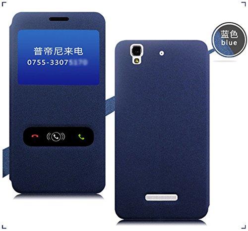 Pudini Rain Flip Cover Case For Micromax Yu Yureka - Blue - Free Screen Guard