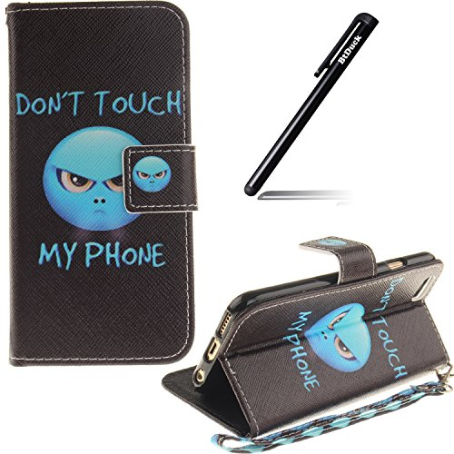 Schutzhülle für iPhone 6s Plus Tasche Gold,BtDuck Solide Slim PU Leder Flip Cover Hülle Lanyard Ledertasche Wallet Case Blossom Blume Elegant Embrossed Handytasche für iPhone 6 Plus 5,5 Zoll Cases Etu Gurt,angry