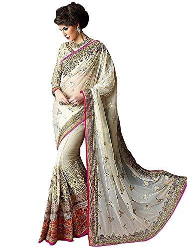 Glamant Women\'s Georgette and Net Saree with Blouse Piece (1021, White, Free Size)