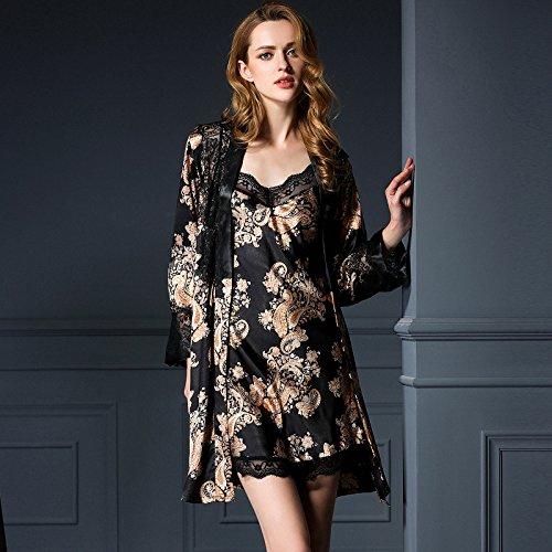 lpkone-Pyjamas en soie de glace sexy dentelle bretelles chemise chemise vêtements sexy,Champagne Black