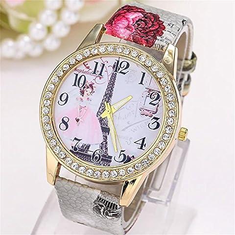WW Disco de diamante impreso reloj de cuarzo de las mujeres de moda correa , 3- gray