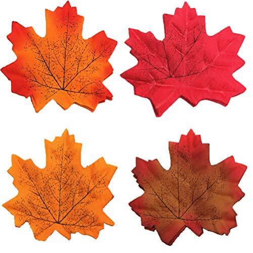 ünstliche Herbst Ahornblätter, verschiedene Farben Herbstblätter für Halloween Christmas Party Decor, Herbst Hochzeiten & Herbst Parteien Dekoration (4 Farben) ()