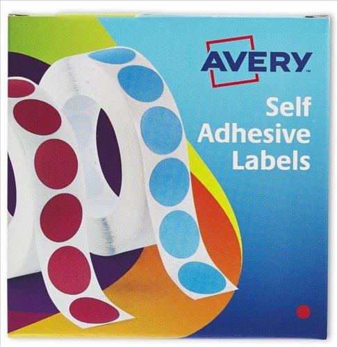 Avery 24–615 Selbstklebende Etiketten, rund, für Etikettenspender, 8mm, 1400Aufkleber, Rot