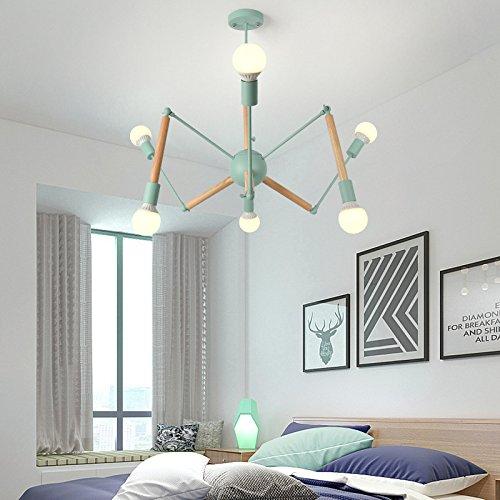 Postmodern minimalistische Wohnzimmerbeleuchtung 3 + 3 Kopf Holz himmelblau ohne Lichtquelle