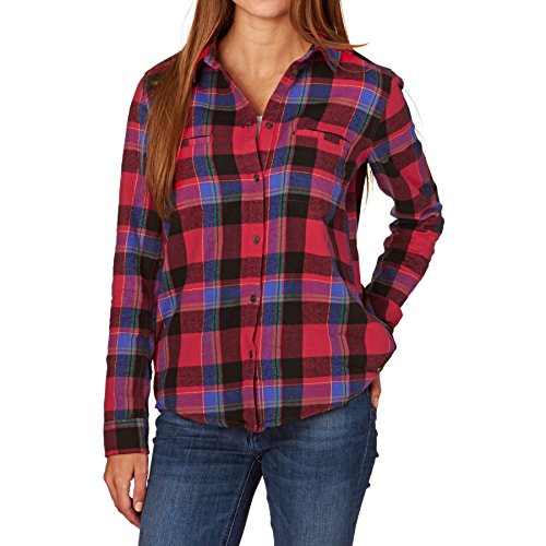 Roxy Flannel Shirts - Roxy Campay Flannel Shirt - Moon Plaid Combo Scarlet Red