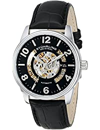 Stuhrling Original Legacy 649 Men's Automatic Watch with Black Dial Analogue Display and Black Leather Strap 649.01