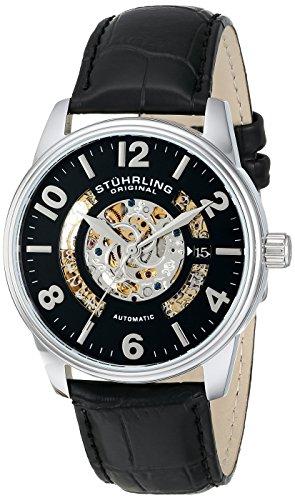 Stührling Original 649.01 - Reloj analógico para hombre, correa de cuero, color negro