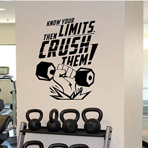 Preisvergleich Produktbild 49.9X65Cm Motivational Gym Art Sticker Know Your Limits Them Crush Them Pvc Gym Room Wall Decor