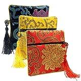 TENDYCOCO Bolsa de joyería de 3 Piezas Pequeña Cremallera Monedero Bolsa de Regalo de Pulsera de Brocado de Brocado de Seda China (Amarillo/Negro/Rojo)