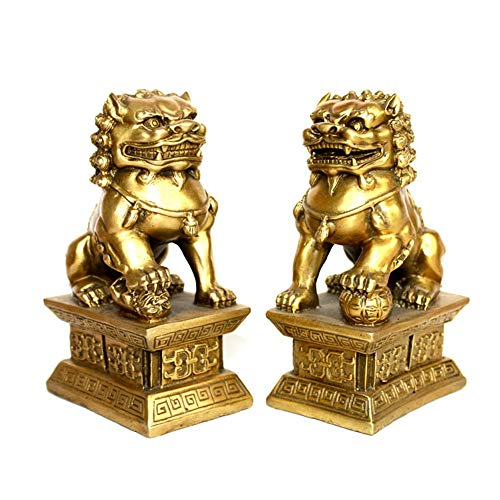 LINGS EIN Paar Pekinger Löwenpaare Fu FOO Dogs Statuen, Resin Guardian, chinesisches Feng Shui-Dekor, für Haus und Büro, Wohlstand und viel Glück anziehen, fünf Farben,Gold - Outdoor-löwen-statuen