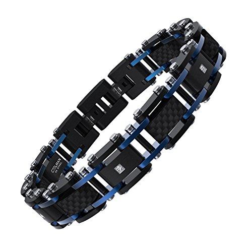 COOLMAN Herren Edelstahl Armband Carbon Fiber Armband verstellbares Armband 20,32-21,59 cm und Geschenkbox Enthalten (Blau & Schwarz) Carbon-armband Für Männer