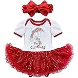 YiZYiF 2tlg. Baby Mädchen Kleid Pailletten Bekleidung Set Weihnachten Strampler Tütü Bodys + Kopfband für 3-18 Monate (3 Monate, 2tlg. Weiß + Rot)
