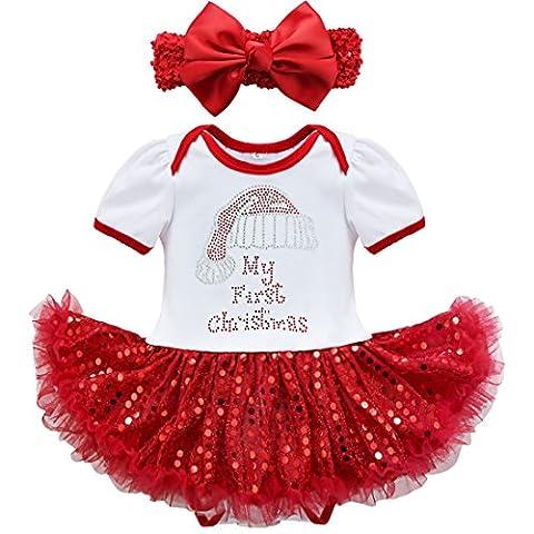 YiZYiF 2tlg. Baby Mädchen Kleid Pailletten Bekleidung Set Weihnachten Strampler Tütü Bodys + Kopfband für 3-18 Monate (12 Monate, 2tlg. Weiß + Rot)