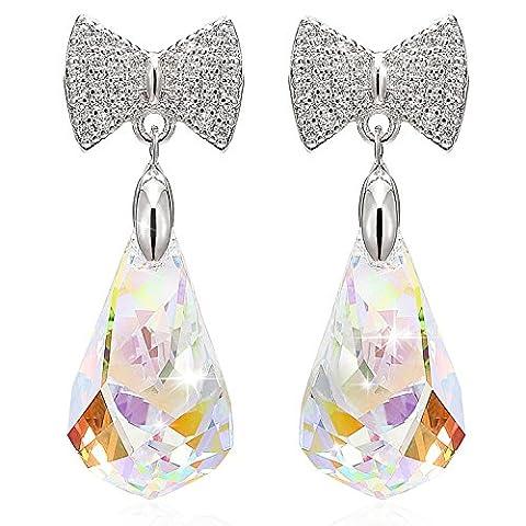 LELADY Dangle Drop Stud Pierced Earrings with Austrian Crystals and 925 Sterling Silver Teardrop Bowknot Butterfly Earrings Birthday Gift for Women