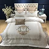 Four sets of autumn and winter home embroidery european-style quilt cover 1.8m simple cotton bedding-A 220x240cm(87x94inch)