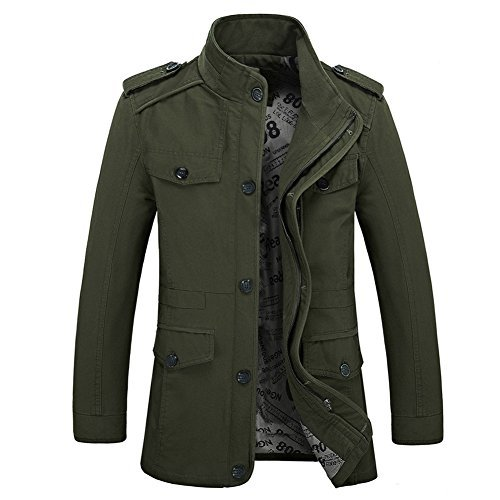 Zicac New Mens Spring Autumn Military Slim Fit Long Sleeve Cotton Casual Lightweight Warm Zipped Jacket Parka Trench Coats Blazer Outerwear with Multi Pockets