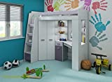 High Sleeper/Bunk Bed - ALL IN ONE Right or Left Hand-side Stairs - Kids/Children Furniture Set. Bed, Wardrobe, Shelves, Desk.