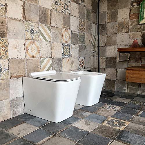 Coppia di Sanitari WC e Bidet a Terra Filo Muro in Ceramica 36,5x56,5x41cm Ginelli Bianco