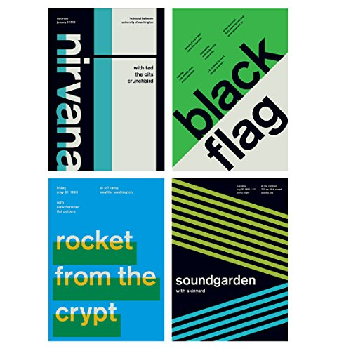 4 X Swissted Prints   Set 2   Contemporary Minimalist Swiss Graphic Design.  Nirvana,