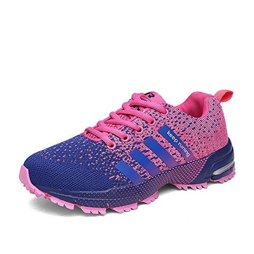 Laufschuhe Retwin Turnschuhe Straßenlaufschuhe Sneaker mit Snake Optik Damen Herren Sportschuhe Pink 40