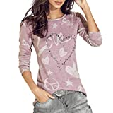 JUTOO Damen Shirt Casual Bluse lose Baumwolle Tops T-Shirt(Rosa,EU:46/CN:2XL)