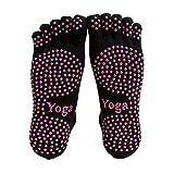 AUDAZIC Full Grip cinq doigts chaussettes de yoga anti-dérapant couvertes chaussettes en coton chaud hiver chaussettes de sport pilates de massage 2 paires