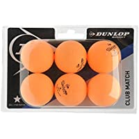 DUNLOP Unisex Club Match Table Tennis Balls 6 Pack Orange One Size