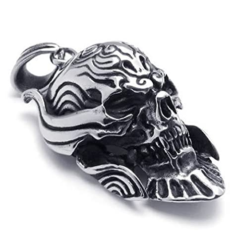 Konov Jewellery Stainless Steel Gothic Skull Biker Men's Pendant Necklace,