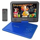 Reproductor de DVD Portátil de 9.5' con Pantalla Giratoria, 5 Horas Recargable incorporada de la batería, Compatible con Tarjetas SD y USB, con el Cargador del Coche y Dispositivo de Juego - Azul