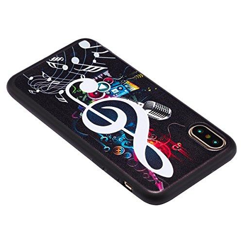 iPhone X Hülle,iPhone 10 Hülle,iPhone X/10 Silikon Hülle Tasche Handyhülle,SainCat Relief TPU Hülle Creative Schwarz Muster Ultra dünne Silikon Schutzhülle [Kratzfeste, Scratch-Resistant] Durchsichtig Anmerkungen