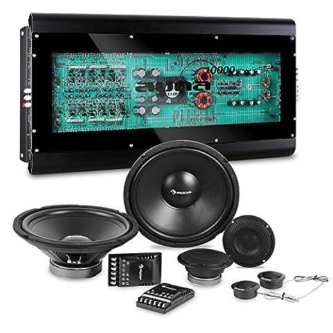 auna CS-Comp-12 Car-HiFi Lautsprecher-Set + 6-Kanal-Endstufe (Verstärker mit 10.000 W max. Leistung, 2 x 2000 W Subwoofer, 2 x 2000 W Mitteltöner, inkl. Kabel) schwarz