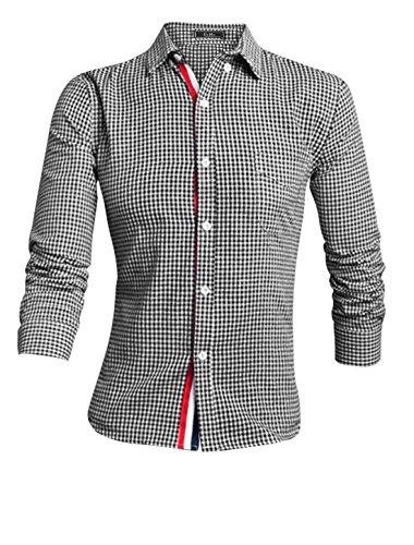 sourcingmap Hommes Manches Longues Col Pointu Veste Droite Plaids Robe T-shirt Noir