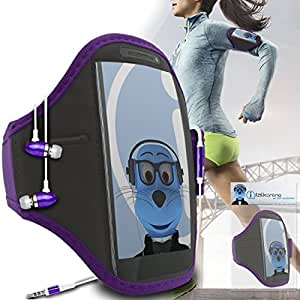 Purple Black Adjustable Sports GYM Jogging Running ArmBand Case Cover with 3.5mm Aluminium Headphones For HTC Droid Eris
