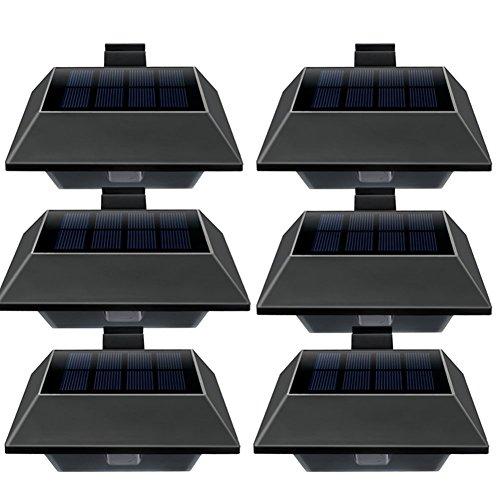 Uniquefire Schwarz Solar Wandleuchte mit Bewegungsmelder Außen Sicherheit Wasserdicht Lighting,12 LED Warmweiße Licht Auto On/Off Funktion Für Patio, Terrasse, Hof, Garten Außenwand (6 STK.)
