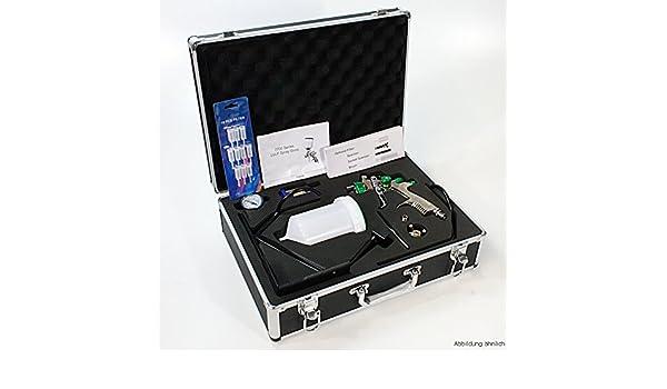 LVLP Spritzpistole mit Düsen 1.3 und 1.8 Lackierpistole im Alukoffer Koffer Set
