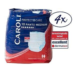 Caroli Protect + Care Pants (medium), ohne Duft, Vorteilspack (4 x 10 Stk.) für mittlere bis schwere Blasenschwäche …