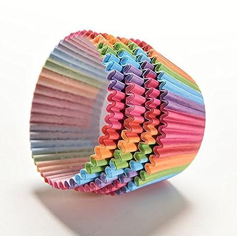 Fomccu 100pcs Colorful Rainbow Paper Cake Cup Sacs Cuisson Muffin Tasse Coque pour fête