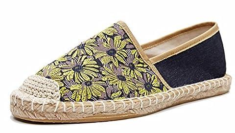 Damen Klassische Jacquard Blumenmuster Flach Loafer Slipper