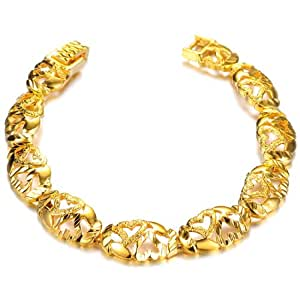 OPK-New Fashion Jewelry Yellow Gold Plated in Copper Bangle Hollow Heart Shape Adjustable Women's Bracelet Jewelry Gift Never Fade and Anti-Allergy Bangle 7.28 Inch Length 10.8 mm Width 14.3 g