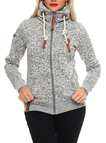 Damen - Sweatjacke Sweatshirt Zipper , Hell-Grau meliert , Gr. XL